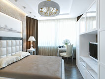 Moderne Weiße Möbel Das Schlafzimmer. Stockbild - Bild von decke ...
