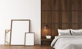 Modernes Schlafzimmer Mit Hölzerner Wand Und Poster Nähert Sich Bett Stock  Abbildung