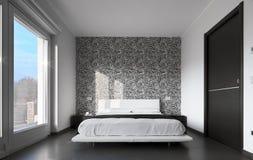 Modernes Schlafzimmer mit Wandpapier Stockfotografie