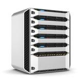Modernes Servergestell 3d übertragen stock abbildung