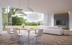 Modernes Speisen und Wohnzimmer mit Wiedergabe der Gartenansicht 3d lizenzfreie abbildung