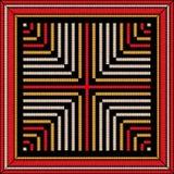Modernes stilvolles Muster in den roten, weißen, gelben und schwarzen Farben Geometrischer Vektorillustrationshintergrund Sticker Lizenzfreie Stockbilder