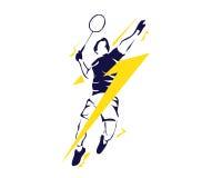 Modernes Superblitz-Zertrümmern-leidenschaftlicher Badminton-Spieler im Aktions-Logo Stockfotografie