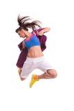 Modernes Tänzerspringen der jungen Frau stockfoto