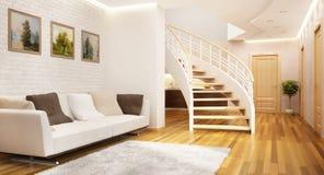 Modernes Treppenhaus in einem großen Haus lizenzfreie stockbilder
