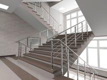 Modernes Treppenhaus mit Buntglasfenster Stockfotos