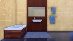 Modernes unbedeutendes Badezimmer Innen mit Badewanne stock abbildung