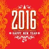 Modernes vectorstyle rote gelbe weiße Grußkarte des neuen Jahres Farbschemas Lizenzfreie Stockbilder