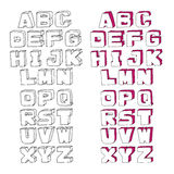 Modernes Vektor-Aquarell-Alphabet Stockbild