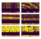 Modernes Visitenkarte-Set. Purpurrot-gelbes abstractio Lizenzfreie Stockfotos
