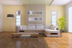 Modernes Wohnzimmer 3d übertragen Stockfotografie