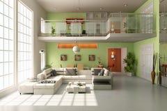 modernes Wohnzimmer 3d Stockfotografie