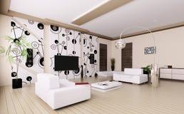 Modernes Wohnzimmer Innen-3d Stockfotos