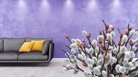 Modernes Wohnzimmer, Innenarchitektur 3D übertragen Stockfotos