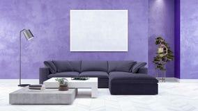 Modernes Wohnzimmer, Innenarchitektur 3D übertragen Lizenzfreie Stockbilder