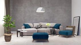 Modernes Wohnzimmer, Innenarchitektur 3D übertragen Lizenzfreies Stockfoto