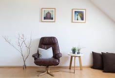 Modernes Wohnzimmer, Innenarchitektur, Ledersessel, Quittenbr lizenzfreies stockbild