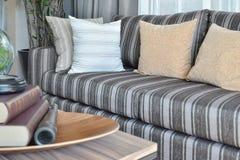 Modernes Wohnzimmer mit gestreiften Kissen auf einem zufälligen sof Lizenzfreie Stockfotos