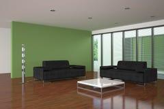 Modernes Wohnzimmer mit grüner Wand Stockfotos