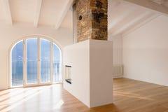 Modernes Wohnzimmer Mit Kamin In Der Mitte Stockbild