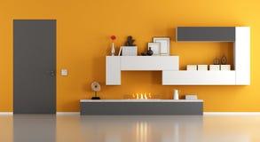 Modernes Wohnzimmer mit ökologischem Kamin - Wiedergabe 3d Lizenzfreies Stockfoto