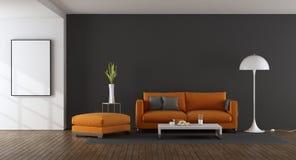 Modernes Wohnzimmer mit orange Sofa vektor abbildung