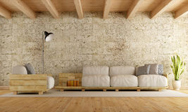 Modernes Wohnzimmer mit Palettensofa Lizenzfreie Stockfotos