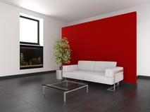 Modernes Wohnzimmer mit roter Wand und Aquarium Stockfotografie