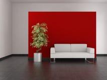 Modernes Wohnzimmer mit roter Wand und mit Ziegeln gedecktem Fußboden Stockbilder