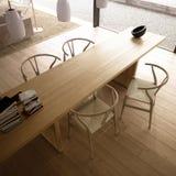 Modernes Wohnzimmer mit Tabelle und Stühlen Stockbild
