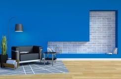 Modernes zeitgenössisches Wohnzimmer Innen mit blauem Wand-und Kopien-Raum auf Wand für Spott oben stock abbildung