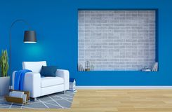 Modernes zeitgenössisches Wohnzimmer Innen mit blauem Wand-und Kopien-Raum auf Wand für Spott oben lizenzfreie abbildung