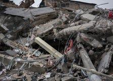 Modernes zerstörtes Gebäude ruiniert Nahaufnahme Lizenzfreies Stockbild