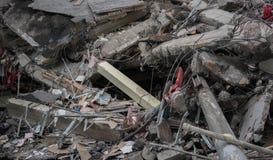Modernes zerstörtes Gebäude ruiniert Nahaufnahme Stockbild