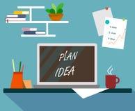 Modernewerkplaats en milieu voor plannen en ideeën in vlak ontwerp met laptop vector illustratie