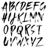 Moderni disegnati a mano asciugano l'iscrizione della spazzola Alfabeto di stile di lerciume Fonte scritta a mano Illustrazione d Immagine Stock
