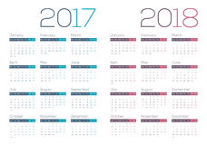 2017 2018 moderni e calendario pulito di affari Immagine Stock