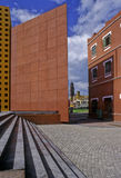Modernism and colonial. These buildings in puebla represents three periods modernism represented by the convention center on the left, colonial period, by san royalty free stock image