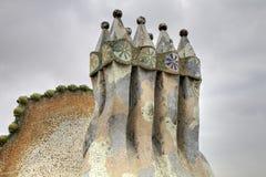 Modernism style chimneys of the Casa Batla. Barcelona, Catalonia, Spain stock photo