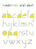Modernist alphabet. Alphabet made of simple shapes in a modernistic style Stock Images