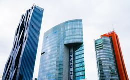 Modernist architecture in high rise office and apartment buildings royalty free stock photos