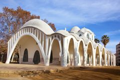 Modernist bouw Masia Freixa in Terrassa, Spanje stock afbeelding