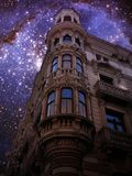 Modernist building and Small Magellanic Cloud (Elements of this Royalty Free Stock Image