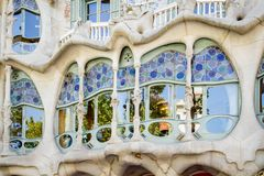 Modernist Casa Batllo facade, in Barcelona, Spain Royalty Free Stock Images