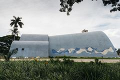 Modernist church of Sao Francisco de Assis in Belo Horizonte, Brazil. Belo Horizonte, Brazil - Dec 26, 2017: Modernist church of Sao Francisco de Assis by Oscar Stock Images