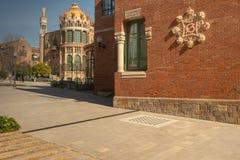 Modernist enclosure of Sant Pau, 1930, architect Lluis Domenech i Montaner, Barcelona, Catalonia, Spain. Hospital de la Santa Creu i Sant Pau, detail of a facade stock image