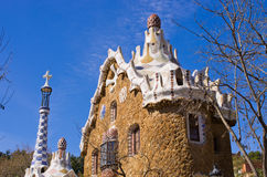 Modernist house in Park Guell, Barcelona, Spain Royalty Free Stock Images