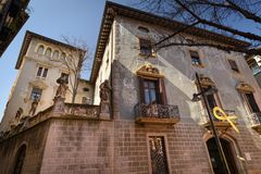 Modernist house in Vic city , Catalonia. Modernist house in Vic city , Osona in Catalonia, Spain a sunny day. Europe royalty free stock photo