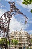 Modernist lamppost with Casa Mila in background Stock Photography