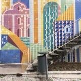 Modernist tiles. Infante Santo Avenue modernist tiles royalty free stock images